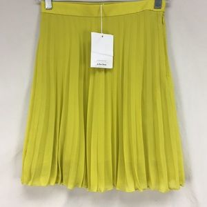 NWT And Other Stories Yellow Pleated Mini Skirt